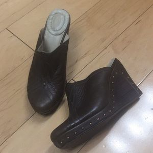 UGG brown leather wedges clogs studded 7.5